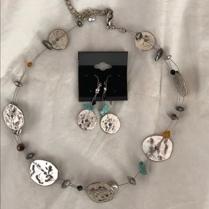 Jewelry - Silver and beaded necklace and earrings